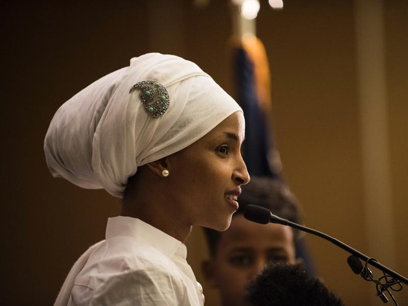 Ilhan Omar, a Democratic candidate for state representative in Minnesota, gives an acceptance speech on election night in Minneapolis.