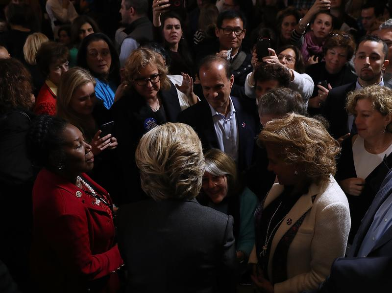 Hillary Clinton greets supporters and members of her staff ahead of her concession speech Wednesday at the New Yorker Hotel in New York City.