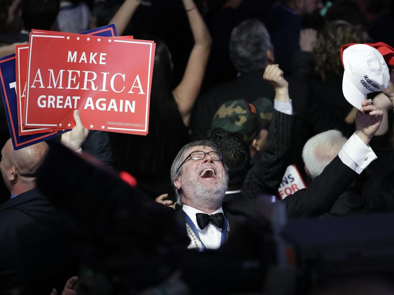 Supporters of Donald Trump react as they watch the election results during Trump's election night rally on Tuesday.