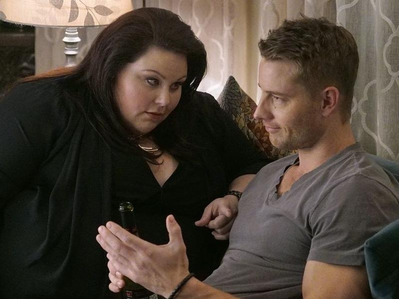 Kate (Chrissy Metz), left, and Kevin (Justin Hartley) are sibling comrades in NBC's <em>This Is Us</em>.