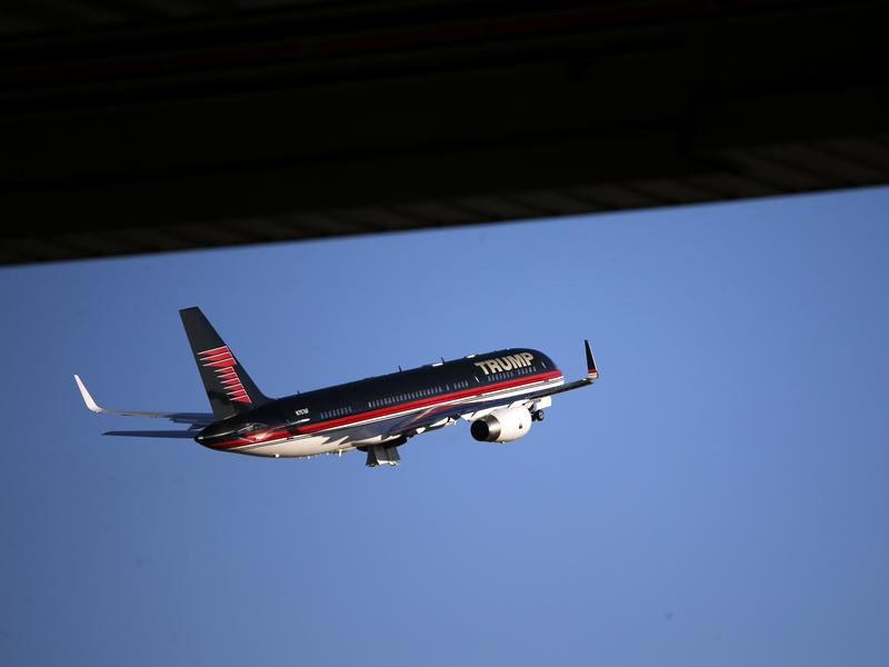 Donald Trump's campaign plane departs Minneapolis over the weekend.