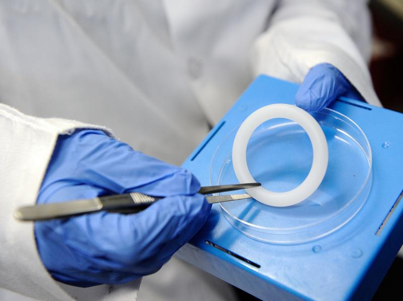 The vaginal ring is made of silicone, it's flexible and it continuously releases the anti-HIV drug dapivirine.