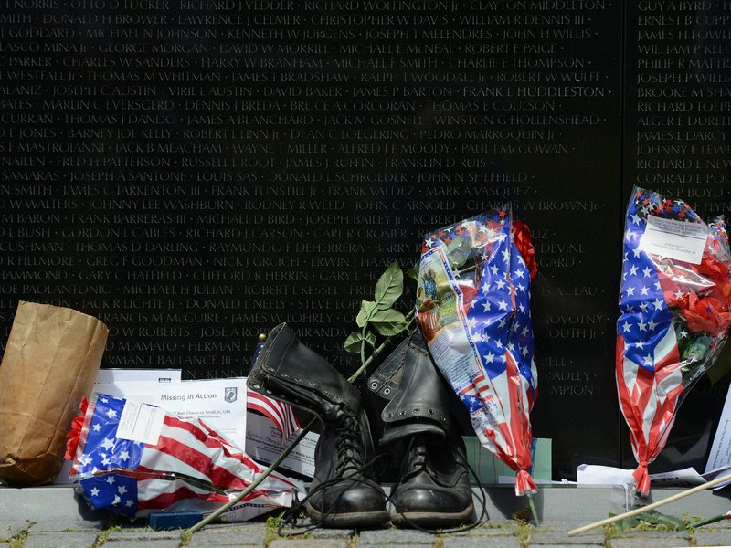 Items left for loved ones at the Vietnam Veterans Memorial in 2014. Hundreds of thousands of such items have been left behind at the wall in commemoration, according to the National Park Service.
