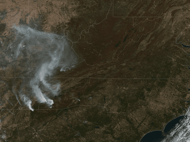 A satellite image shows smoke from wildfires burning in North Carolina, Tennessee and Georgia on Nov. 7.