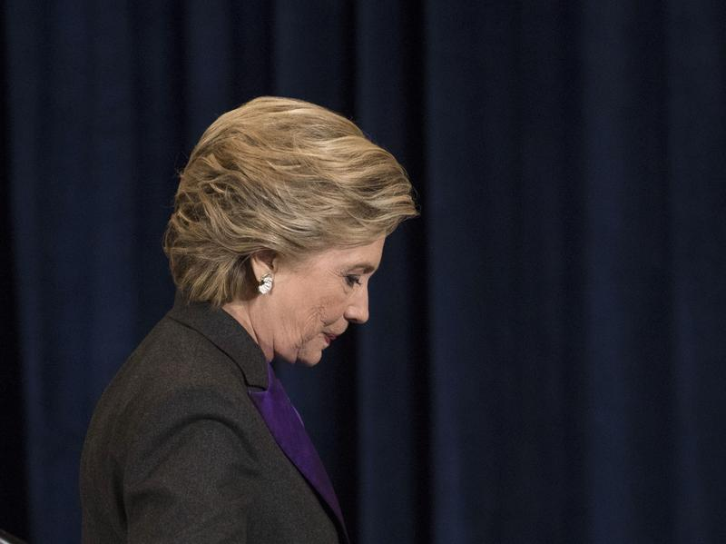 Hillary Clinton walks off stage after conceding the presidential election to Donald Trump on Wednesday.