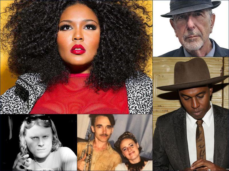 Clockwise from upper left: Lizzo, Leonard Cohen, Sinkane, Rubblebucket, Ty Segall