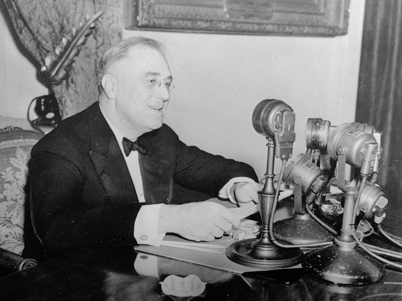President Franklin D. Roosevelt talks to the nation in a fireside chat from the White House in this November 1937 photo.