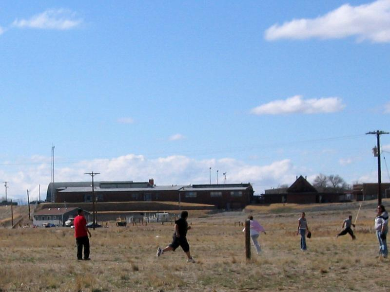 Kids play ball on the Wind River Indian Reservation, which is home to members of the Northern Arapaho and Eastern Shoshone tribes.