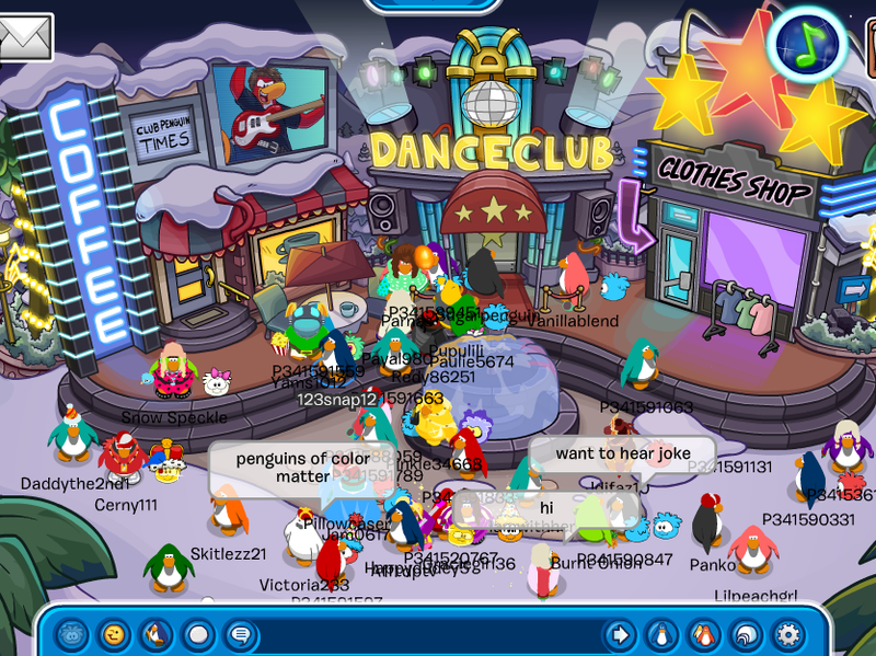 Club Penguin users gather in the town square to share thoughts.
