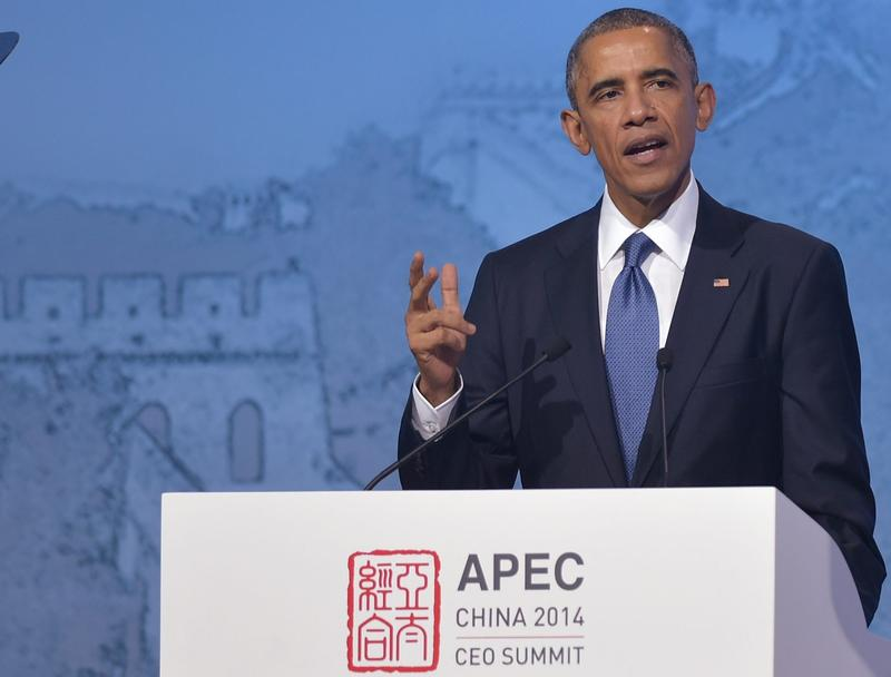 U.S. President Barack Obama speaks during APEC CEO Summit at the National Convention Center in Beijing on November 10, 2014. (Mandel NganAFP/Getty Images)