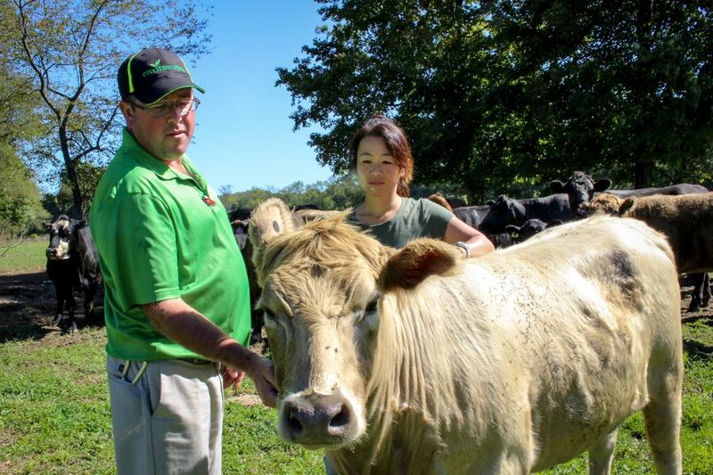 Ken Merrick and his wife, Natsuko, on their farm in eastern Ohio. (Julie Grant/The Allegheny Front)