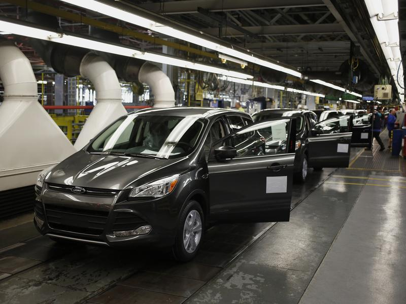 Ford Escape sport utility vehicles move down the production line at Ford Motor Co.'s Louisville Assembly Plant in Kentucky.