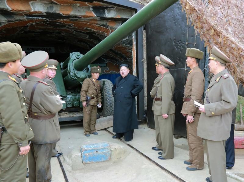This undated photo released by North Korea's official Korean Central News Agency on Nov. 11 shows North Korean leader Kim Jong-Un at a defense detachment on Mahap Islet.