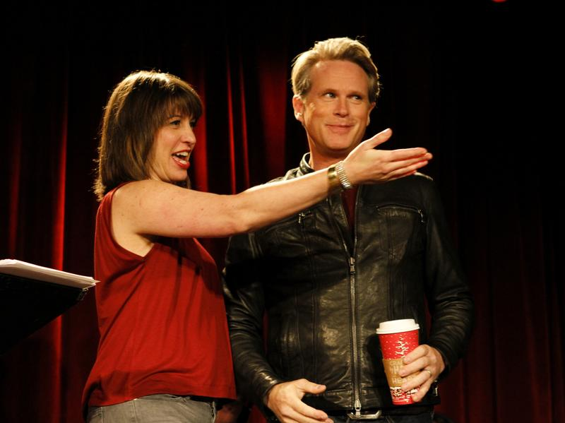 Ophira Eisenberg with Cary Elwes on Ask Me Another.