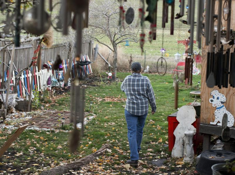 Wind chimes hang from Dawn Tachell's front porch.