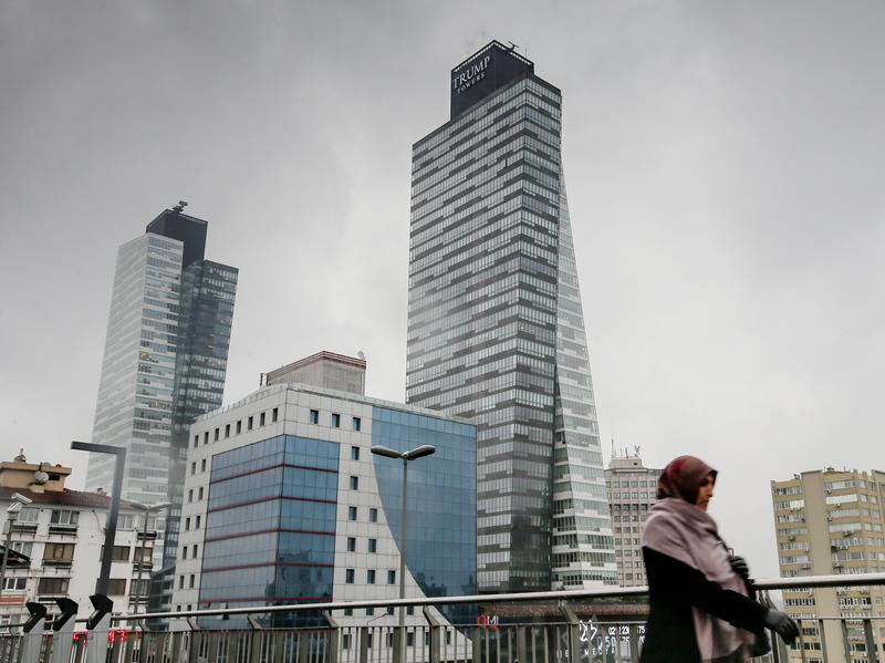 Turkey's Trump Towers rise above the Sisli district in Istanbul, the city's European side. In this case it's Trump in name only – the Turkish owners paid for the right to use the name Trump Towers. Offices are situated above a shopping mall.
