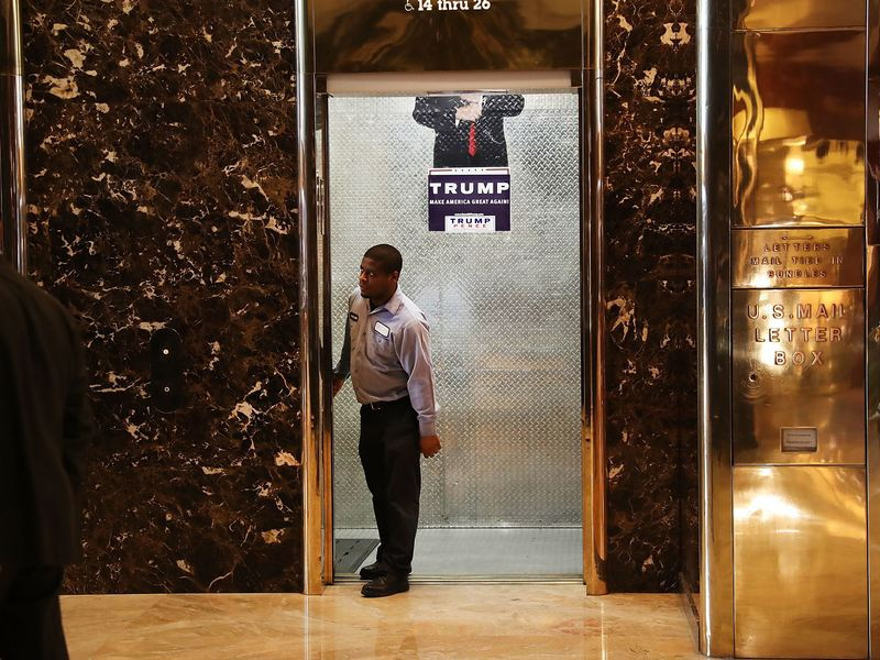 A worker stands in a service elevator in the lobby of Trump Tower on November 14, 2016 in New York City.