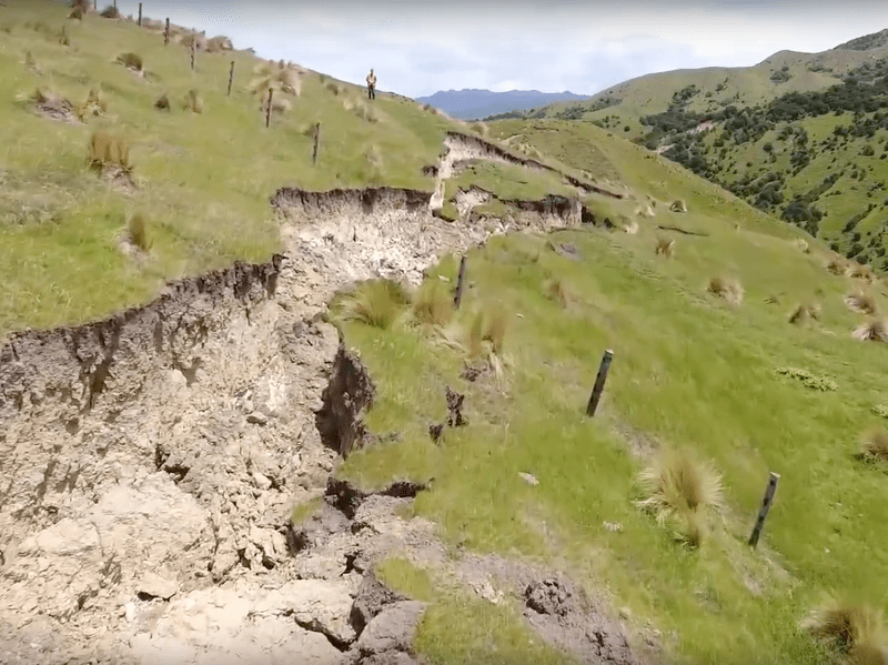 A screenshot of a drone video from <em>GNS</em> shows a fault rupture caused by the earthquake in New Zealand just over a week ago.