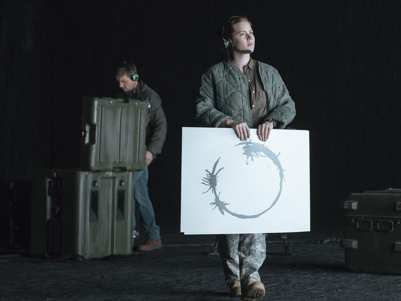 Jeremy Renner as Ian Donnelly and Amy Adams as Louise Banks in the film <em>Arrival</em>.