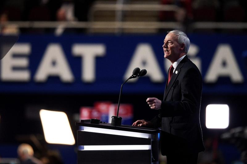 Gov. Asa Hutchinson (R-AR) delivers a speech at the Republican National Convention in July 2016 in Cleveland. (Jeff Swensen/Getty Images)