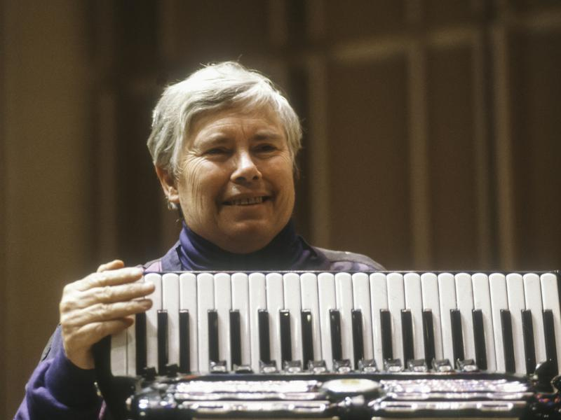 Pauline Oliveros performs at Merkin Concert Hall in New York, in 1991.