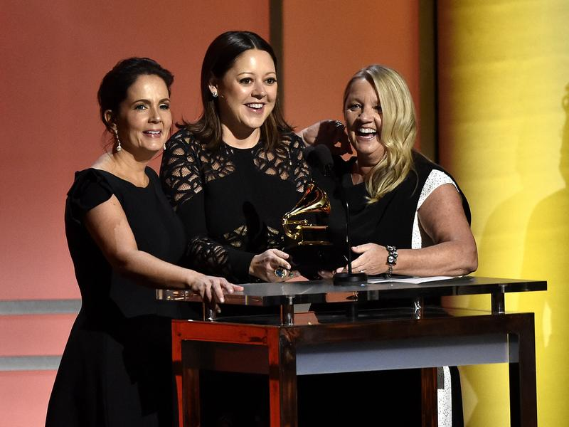 """Hillary Lindsey (center), with songwriting partners Lori McKenna (left) and Liz Rose (right). In February, their song """"Girl Crush"""" received a Grammy award for Best Country Song."""