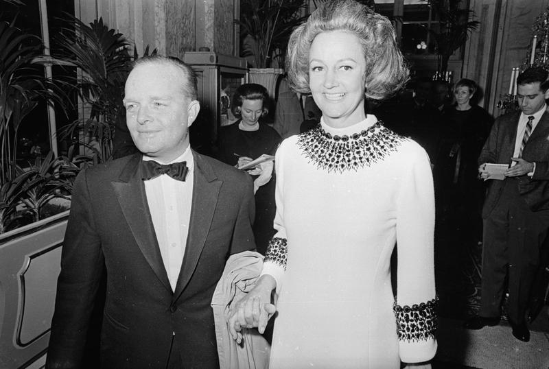 American novelist Truman Capote at his Black and White Ball at the Plaza Hotel New York with guest of honor Katherine Graham, the publisher of the Washington Post. (Harry Benson/Express/Getty Images)