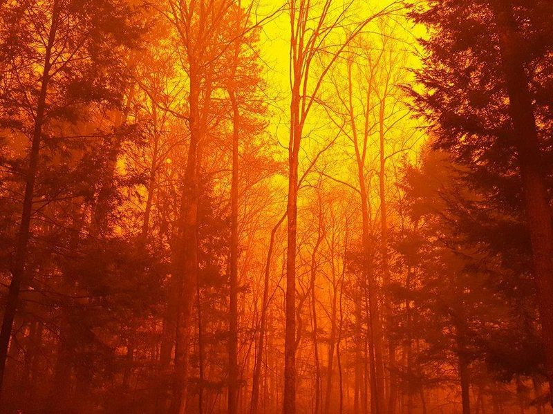 The wildfire continues to burn in the Great Smoky Mountains National Park in eastern Tennessee on Tuesday.