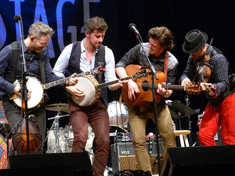 We Banjo 3 performs live for <em>Mountain Stage</em> in Charleston, W.Va.