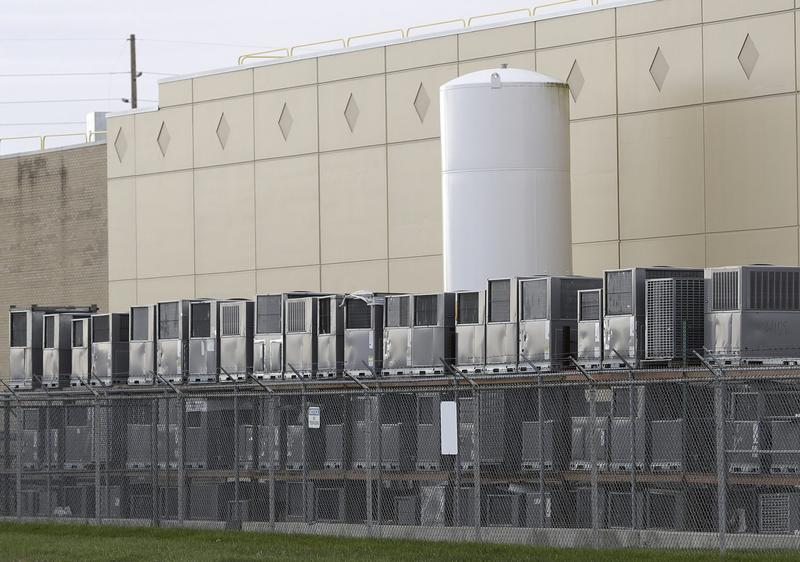 Air conditioning units are stacked outside the Carrier Corporation plant, Wednesday, Nov. 30, 2016, in Indianapolis. (Darron Cummings/AP)