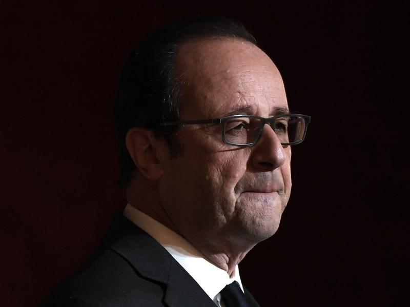 French President Francois Hollande delivers a speech at a ceremony at the Elysee Presidential Palace in Paris on Thursday.