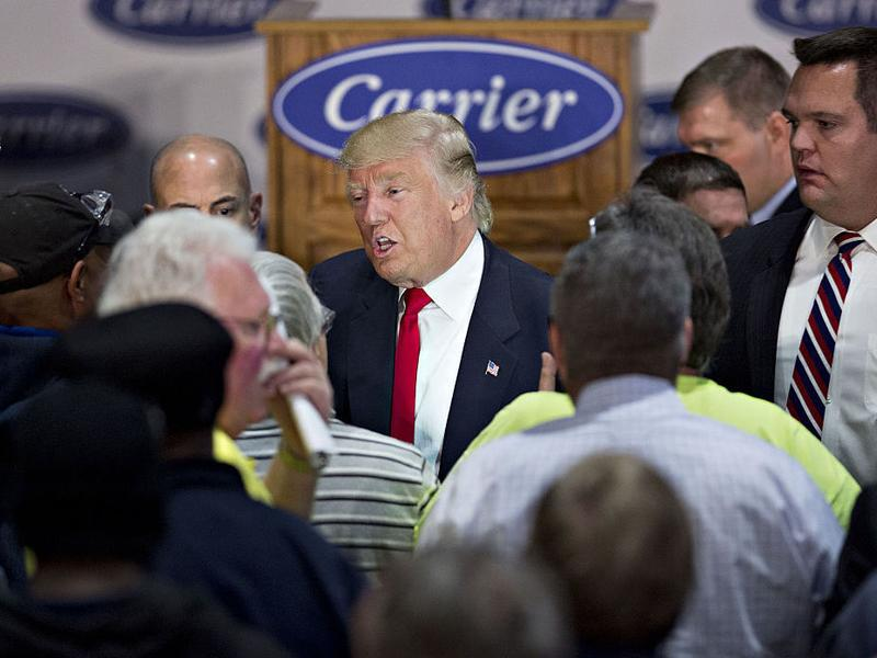 President-elect Donald Trump greets attendees after speaking during an event at Carrier Corp. in Indianapolis on Thursday.
