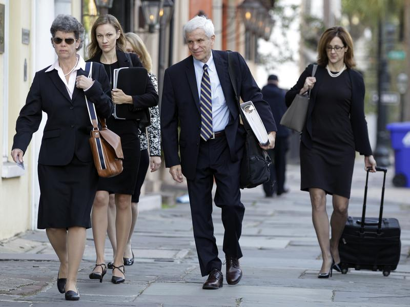 Members of the defense team for Dylann Roof arrive at the federal courthouse in Charleston, S.C., on Nov. 7.
