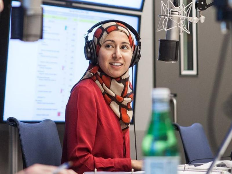 NPR reporter Asma Khalid during a live broadcast. She covered demographics and the 2016 campaign.