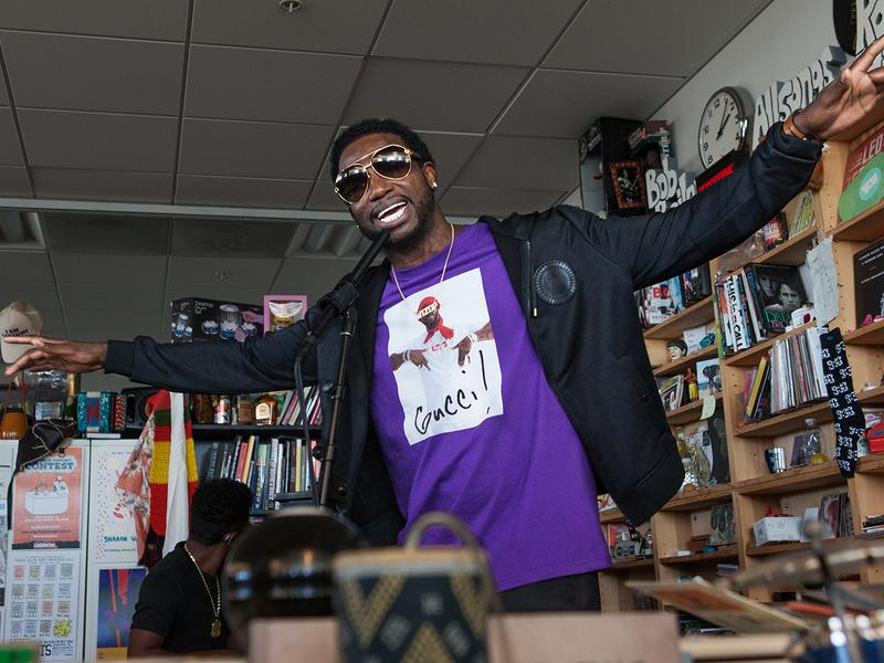 Gucci Mane performs a Tiny Desk Concert on Oct. 14, 2016. (Claire Harbage/NPR)
