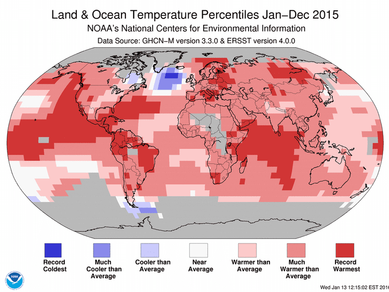 Land and sea temperatures were above average in most parts of the world last year, as seen in this graphic from NOAA.