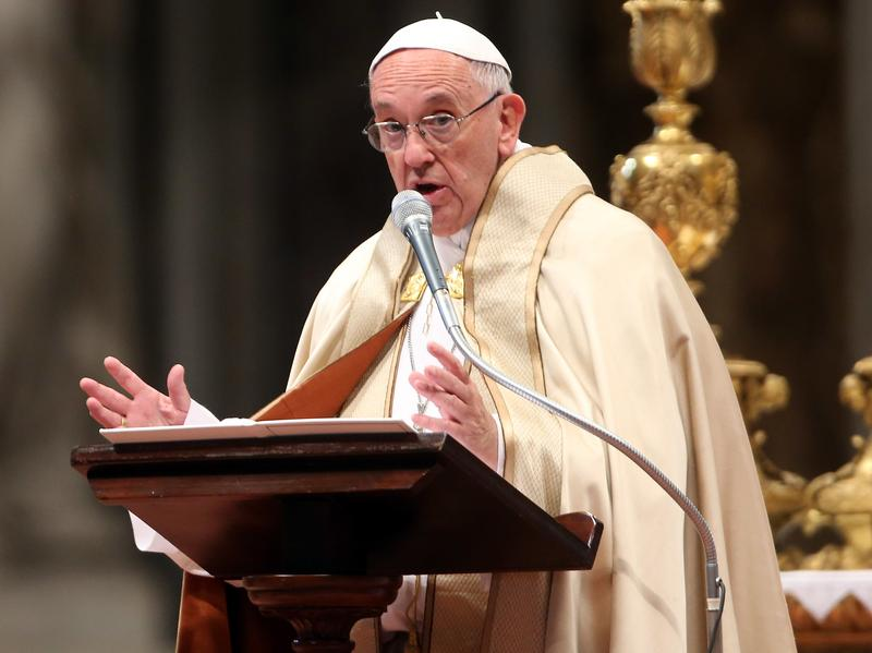 """""""I believe that the media should be very clear, very transparent, and not fall prey — without offence, please — to the sickness of coprophilia,"""" says Pope Francis. The pontiff is seen here at St. Peter's Basilica in November."""
