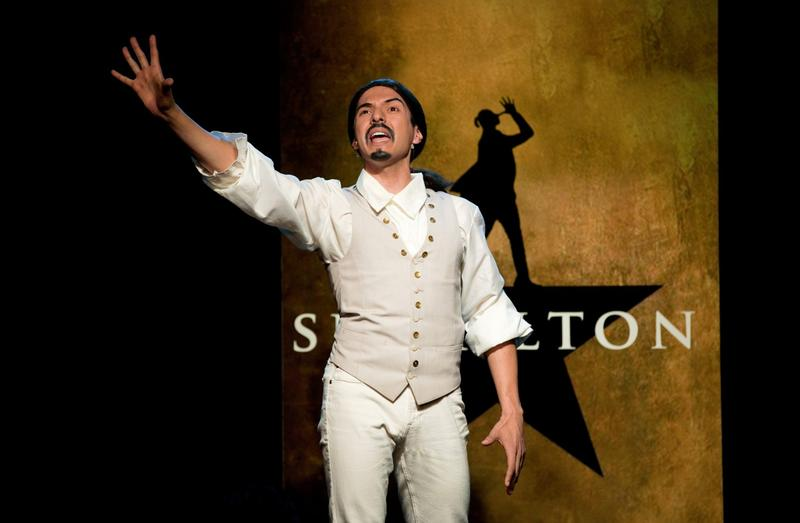 "Dan Rosales in a scene from ""Spamilton"" at the Triad. (Carol Rosegg)"