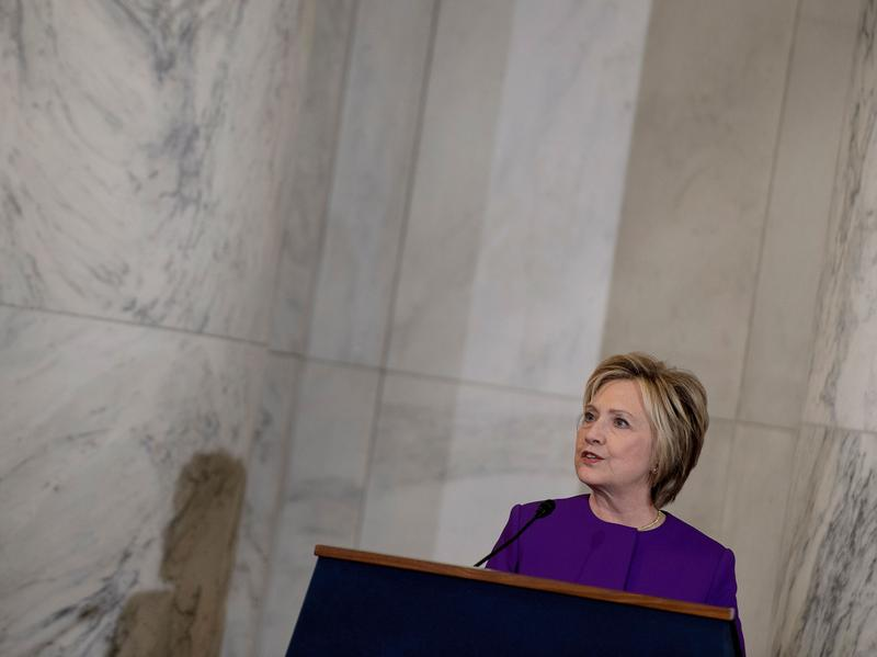 In a speech on Capitol Hill honoring outgoing Senate Majority Leader Harry Reid on Thursday, Hillary Clinton warned of the dangers of fake news.