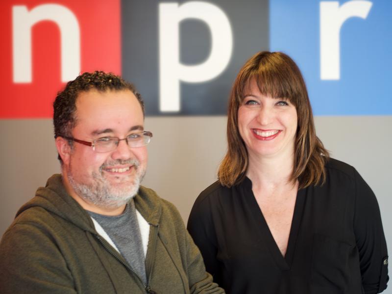 Pablo Hidalgo and Ophira Eisenberg at NPR's New York bureau.