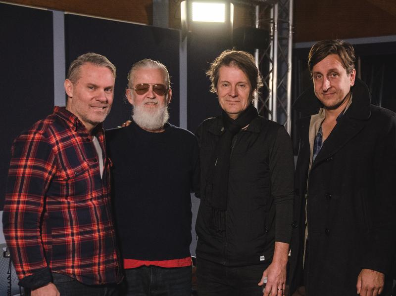 Blue Rodeo in the <em>World Cafe</em> studio.