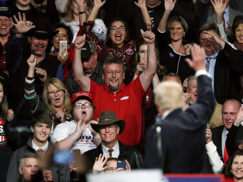 President-elect Donald Trump waves to supporters during a rally Thursday in Des Moines, Iowa.
