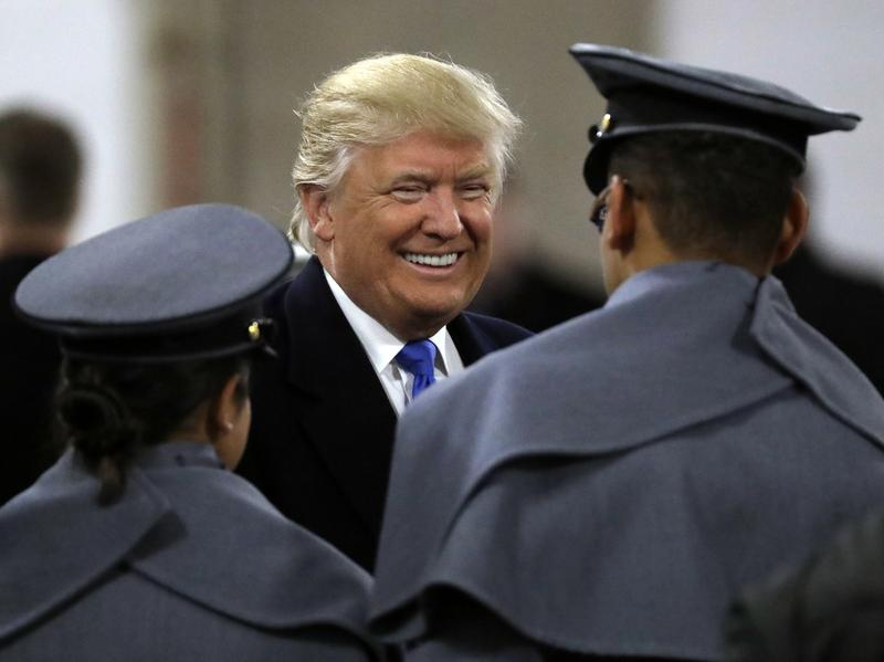 President-elect Donald Trump greets Army Cadets before the Army-Navy football game on Saturday in Baltimore.