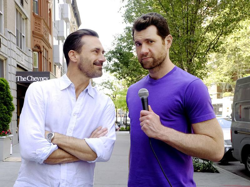 "Billy Eichner (right) chats with actor <a href=""http://www.npr.org/2010/09/16/129904576/a-transformative-year-for-don-draper-jon-hamm"">Jon Hamm</a> during a taping of <em>Billy on the Street.</em> Eichner also stars in the Hulu series, <em>Difficult People.</em>"
