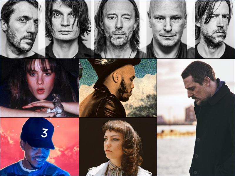 Clockwise from top: Radiohead, Sturgill Simpson, Angel Olsen, Chance The Rapper, cover art for Big Thief, cover art for Anderson .Paak