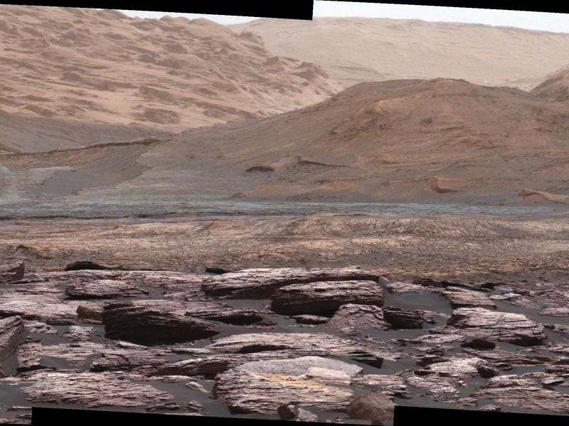 The rover took this photo of purplish rocks at the base of Mars' Mount Sharp on Nov. 10.