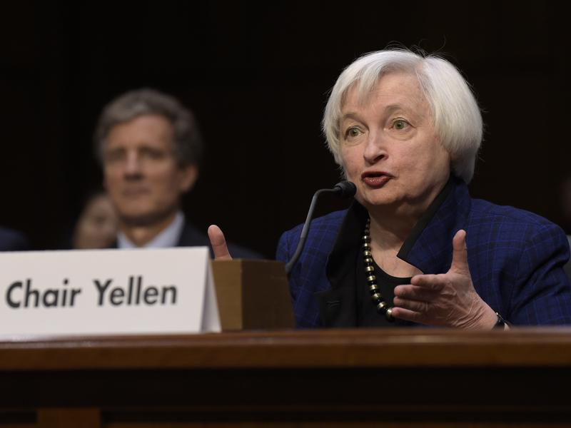Federal Reserve Chair Janet Yellen is expected to discuss the central bank's decision on a benchmark interest rate Wednesday. She's seen here speaking on Capitol Hill last month.