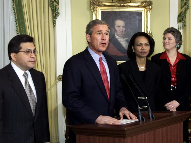 George W. Bush holds a press conference Dec. 17, 2000, where he named Alberto Gonzales chief White House lawyer, Condoleezza Rice (next to Bush) national security adviser and Karen Hughes (far right) counselor.