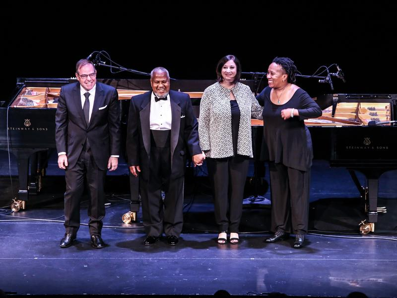Bill Charlap, Willie Pickens, Renee Rosnes and Bethany Pickens performed at the Kennedy Center in Washington for the annual public radio special <em>A Jazz Piano Christmas.</em>