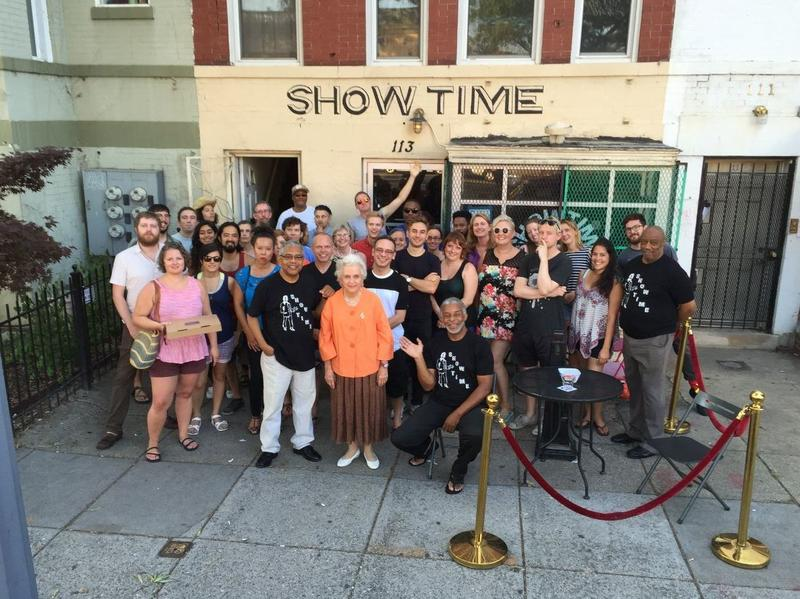 "Alice ""Granny"" Donahue (center), Richard Lynch (far right) and the rest of Granny and the Boys pose with fans and friends outside Showtime Lounge in July 2016."